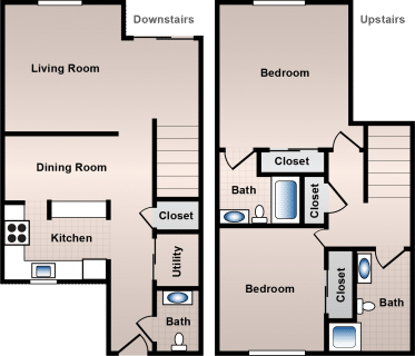 2 Bed / 2½ Bath / 1,400 sq ft / Deposit: $500 / Rent: $835